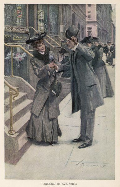 A gentleman raises his hat to a lady while shaking hands with her