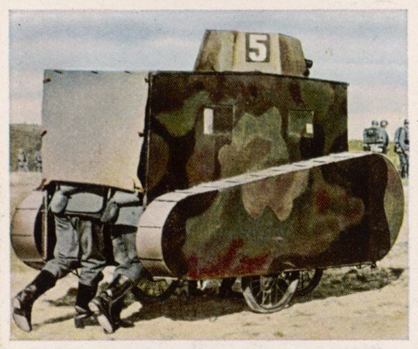 Forbidden real tanks under the terms of the Versailles peace treaty the German army parades & manoeuvres with sham ones