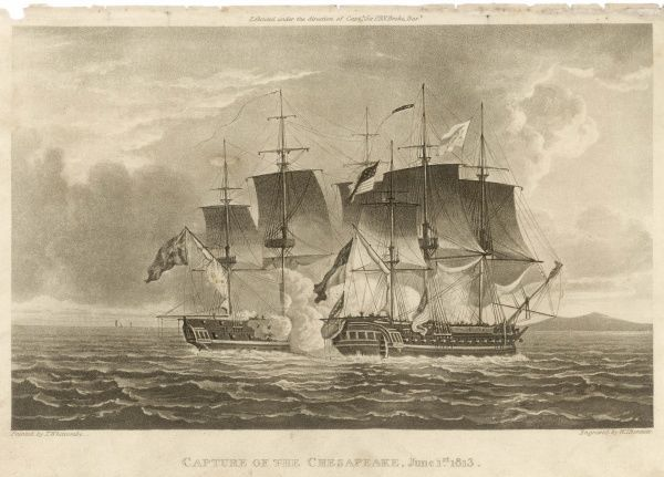 The American frigate Chesapeake is captured by HMS Shannon near Boston