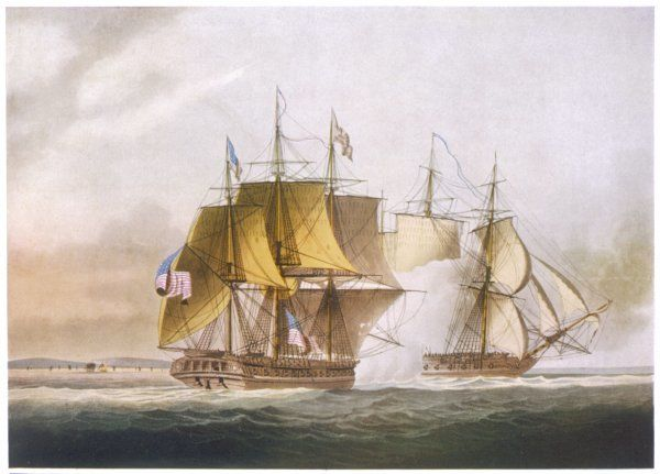 NAVAL COMBAT off Boston between HMS 'Shannon' and the American frigate 'Chesapeake&#39