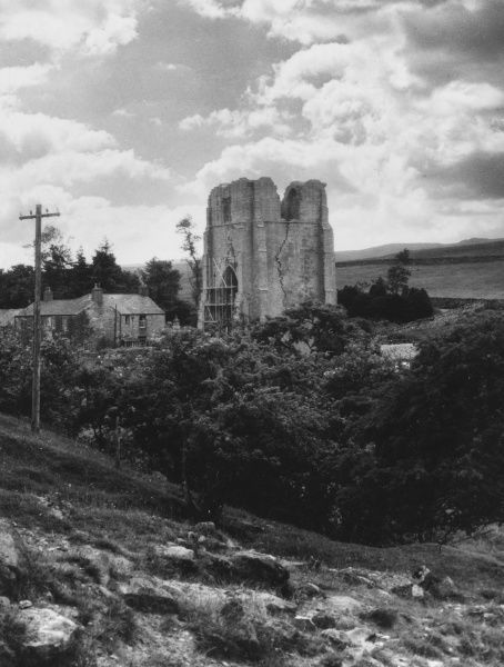 Shap Abbey, Cumbria, England, is a rare Premonstratensian house, in a rather bleak setting. Its most distinctive surviving feature is its huge West Tower. Date: founded circa 1200
