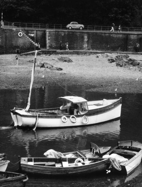 A shark fishing boat, moored in the harbour at Looe, Cornwall, England. Date: 1960s