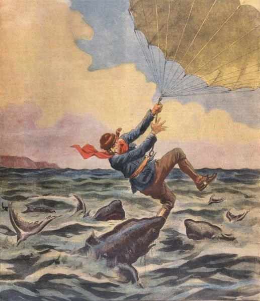 Sharks enjoy a feast when the Australian parachutist, Lieut. Guiller, is carried out to sea by air currents. Date: 1928