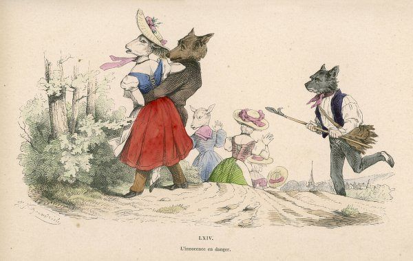 A well dressed wolf attempts to steal a frightened sheep maid but a brave shhepdog appears to thwart him