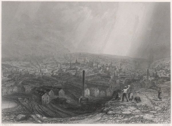 Sheffield, Yorkshire: general view from a hill outside the city