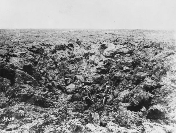 Shell crater at the Chemin des Dames on the Western Front during World War I