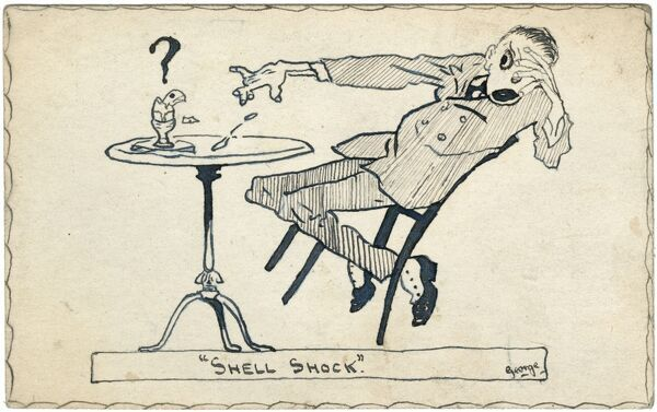 An original pen & ink drawing illustrating a play on words. A young man with 'shell shock' looks away in terror at a cracked hard boiled egg