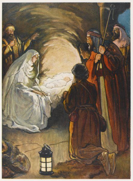 Tipped off by angels, shepherds go to the stable where Jesus has just been born