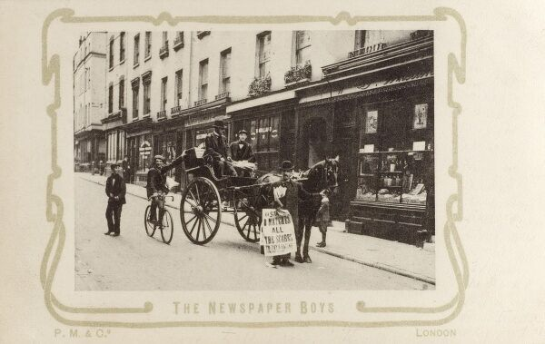 Sherwood Street, London - Some extremely jovial newspaper boys Date: 1901