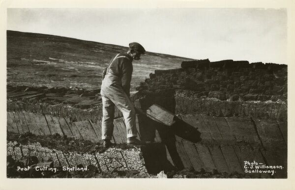 A Crofter cutting a peat bank on The Shetland Islands, Scotland. Date: circa 1920s