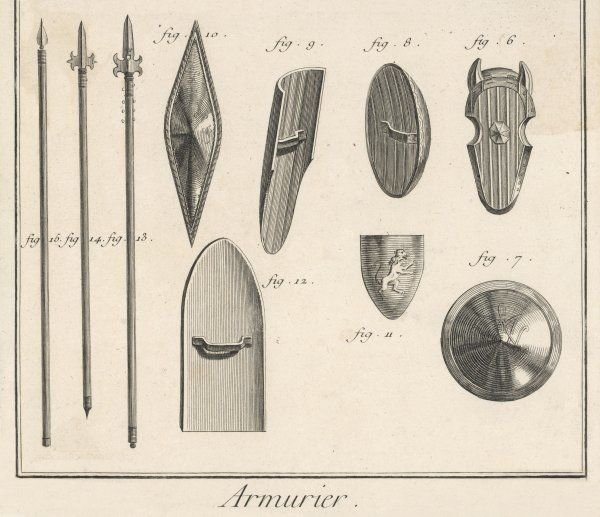 Various shields and spears from 15th century France