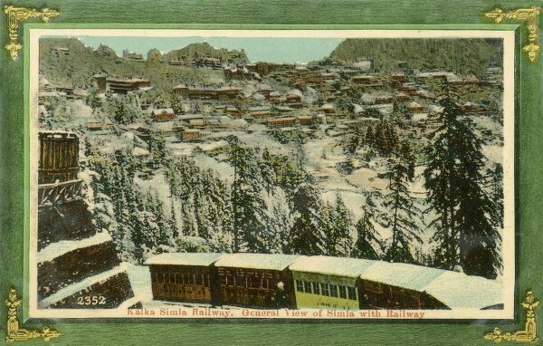General view with Kalka to Shimla Railway of Shimla, originally called Simla, the capital city of Himachal Pradesh. In 1864, Shimla was declared the summer capital of the British Raj in India