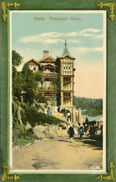 The Telegraph Office at Shimla, originally called Simla, the capital city of Himachal Pradesh. In 1864, Shimla was declared the summer capital of the British Raj in India