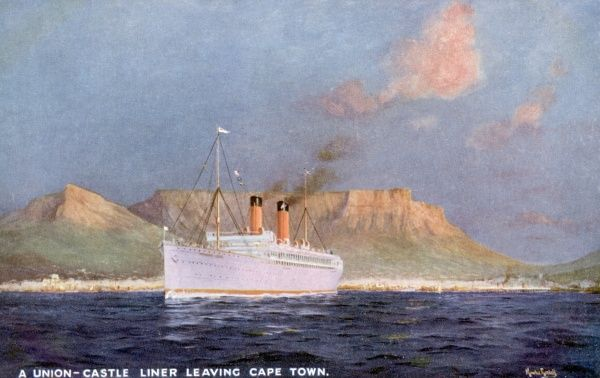 A passenger ship of the Union Castle Line leaves Cape Town, South Africa. Date: circa 1920