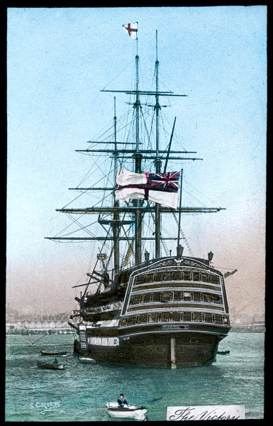 Nelson's flagship moored in Portsmouth, circa 1895