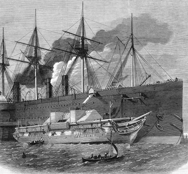 Engraving showing Isambard Kingdom Brunel's steam-ship 'Great Eastern' receiving the Atlantic cable from a smaller vessel. The cable was manufactured at Messrs. Glass and Elliott in East Greenwich, loaded onto smaller cargo ships