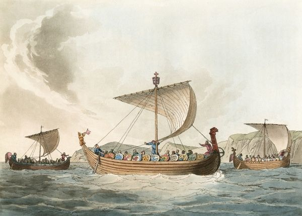696 vessels of this type, similar to Viking boats, are used by duke William to bring his forces to England. Each carries about 100 men. In the foreground is the Commander's. Date: 1066