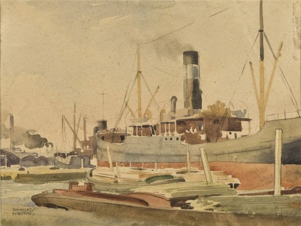 A large cargo steamship in Dock, alongside a row of low barges. Watercolour sketch by Raymond Sheppard Date: circa late 1940s