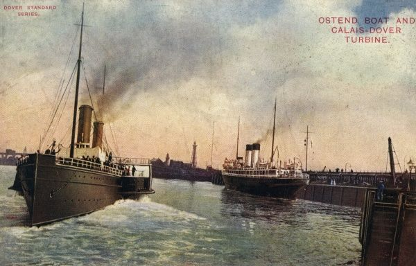 Two Channel Ferries at Dover - one setting off for Ostend, the other just in from Calais. Date: early 20th century