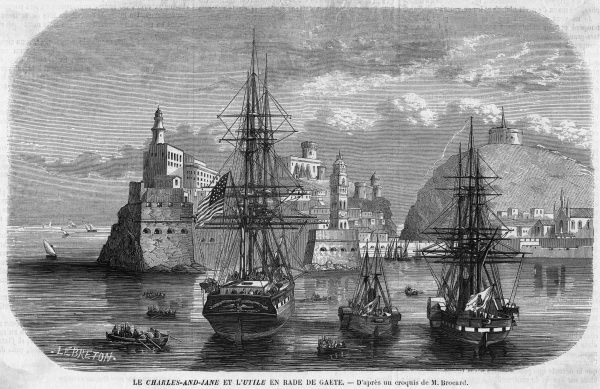 French and American warships in the harbour of Gaeta, where Francesco II, king of the Two Sicilies, continues to resist the patriotic forces