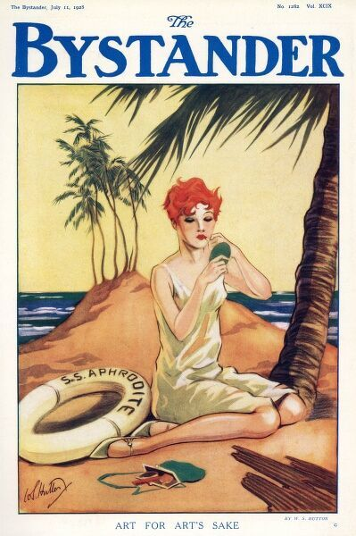 Front cover illustration showing a young woman shipwrecked on a tropical island. Dressed only in a slip, she nevertheless ensures her lipstick is expertly applied. Date: 1928