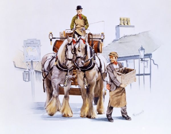 Shire horse drawn brewery dray passes through a village, delivering beer to The Lamb and Flag pub. Painting by Malcolm Greensmith