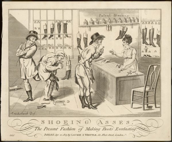 'Shoeing Asses' - The Present Fashion for Making Shoes Everlasting. A shoe shop does a roaring trade in repairing shoes with small horse shoes on the heels