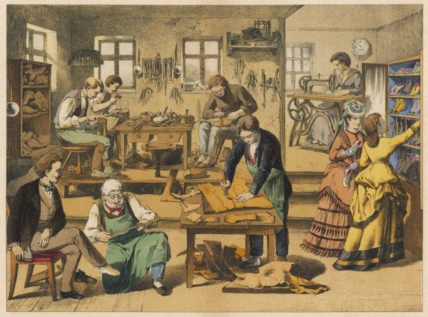 A shoemaker and shoe repairer's shop and workshop, with two well-heeled lady customers admiring a display of shoes and boots