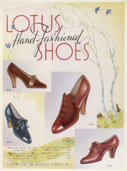 Hand-fashioned Spring shoes for women by Lotus: a high heeled suede court shoe, a shoe with punched out designs & two styles of heeled lace- up