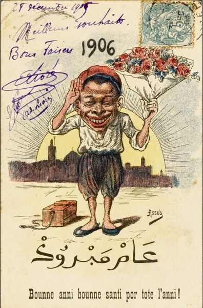 Shoeshine boy from Algeria, holding a bunch of flowers, wishing the card's recipient a 'Happy 1906'!