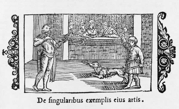 A man shoots an apple off a boy's head, in the style of William Tell