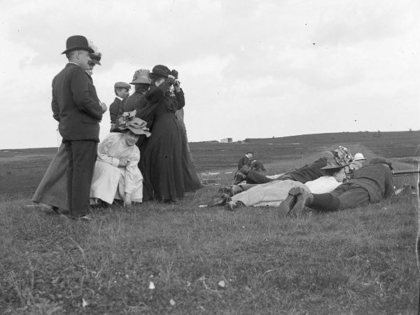 An Edwardian shooting party of men and women enjoying themselves on the Pembrokeshire coast, South Wales