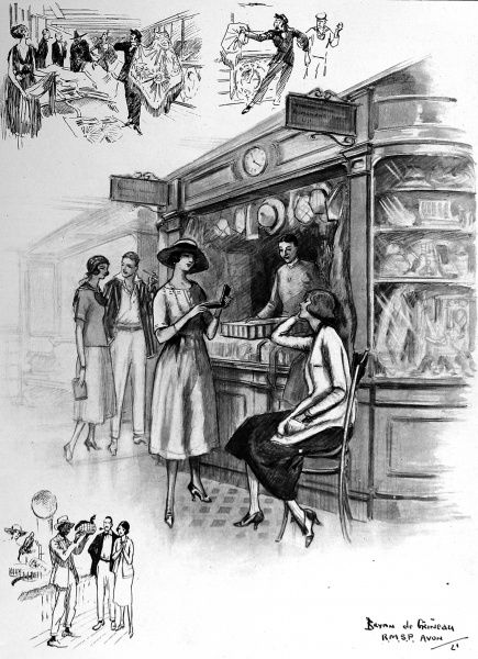 Illustration of the shop on board the liner 'Avon', during its passage to South America, 1921. Sketches of local salesmen visiting the ship at its ports of call can be seen at top left and bottom left