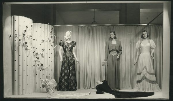 Shop window with ball dresses, 1940. Date: 1940