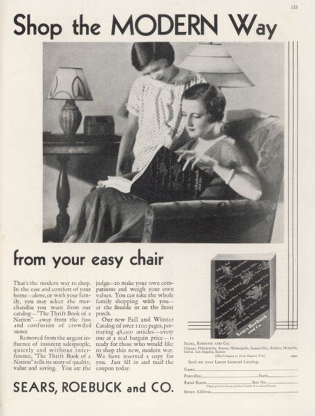 Shop the modern way from your easy chair; a mail-order advertisement for Sears, Roebuck & Co