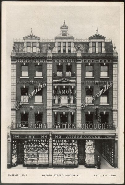 The exterior of Jay, Richard Attenborough & Co Ltd in Oxford Street, London, who advertise themselves as goldsmiths, silversmiths and diamond merchants