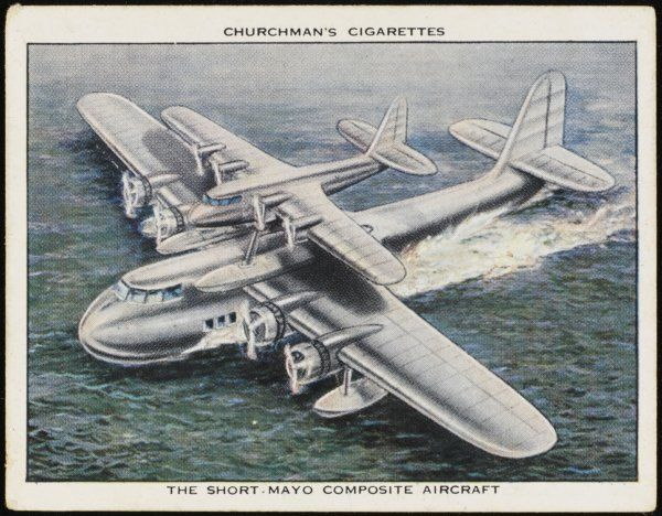 Flying-boat 'Maia' takes off with 'Mercury' on its back, then releases the seaplane, which has not had to expend valuable fuel to get airborne so has a much greater range