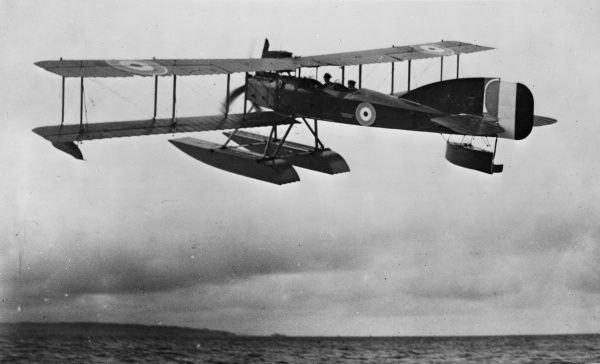 A British Short seaplane Type 184 in flight during the First World War. It was a two-seater reconnaissance, bombing and torpedo-carrying folder seaplane designed by Short Brothers