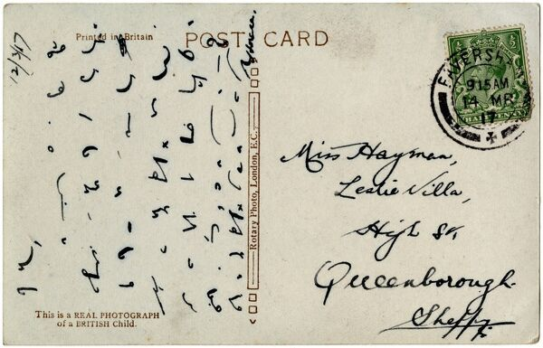 Shorthand on the back of a postcard. Date: 1917