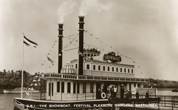 Showboat on the River Thames near the Festival Pleasure Gardens, Battersea, London, part of the Festival of Britain. Date: 1951