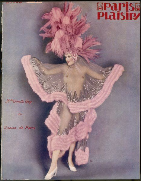 Mademoiselle Ginette Guy at the Casino de Paris, dressed in a transparent number with pink feather edging