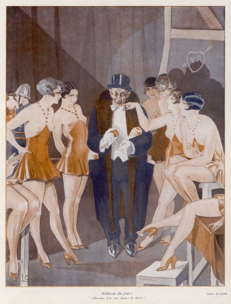 Backstage, showgirls compete for the favours of an rich old patron, who has jewels to give to his favourites