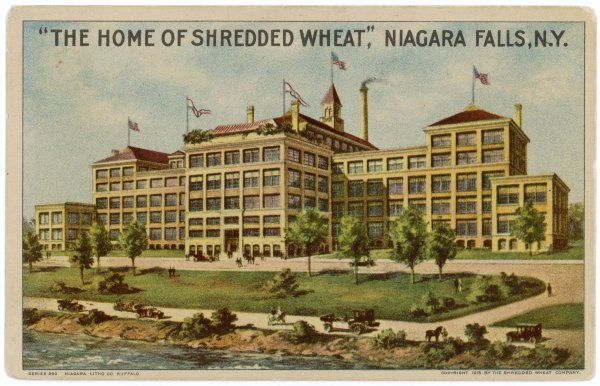 The home of Shredded Wheat at Niagara Falls, New York, 'the cleanest, finest, most hygienic food factory in the world' where 2+ million are made every day