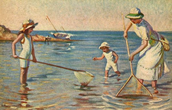 Shrimping on a French beach Date: circa 1920