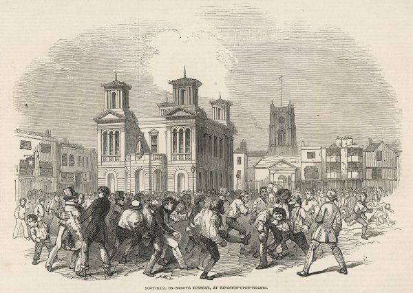 A traditional game of football played on Shrove Tuesday in the streets of Kingston-upon- Thames, between teams named 'Townsend' and the 'Thames- Street Club&#39