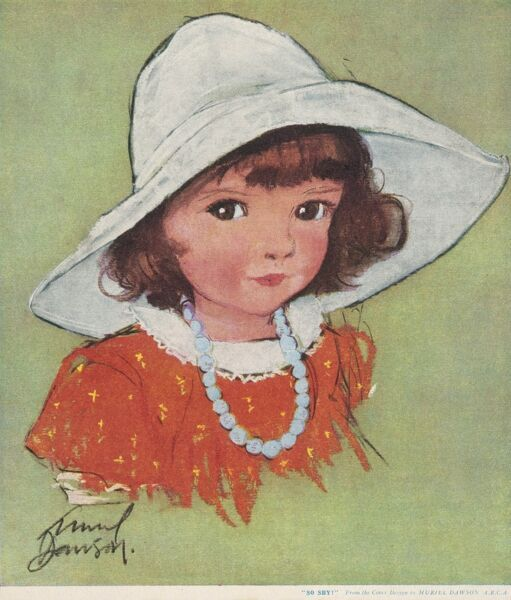 A little girl, with big brown eyes gazes at the viewer, wearing blue beads and a large white sun hat with her red dress