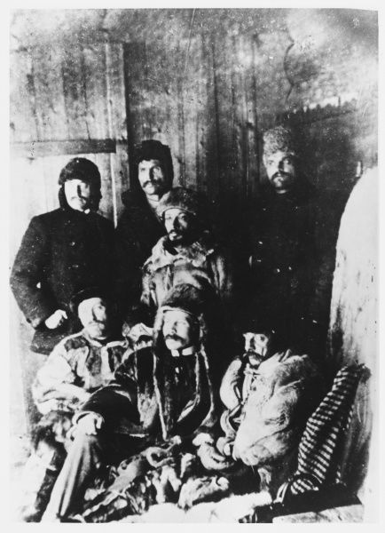 Political prisoners exiled to Siberia by the tsarist regime await release : the central figure is Yakov Svevdlov
