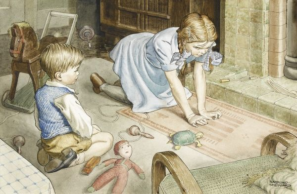 A sister and brother playing with their playing with their toys in front of the fire. Watercolour painting by Raymond Sheppard