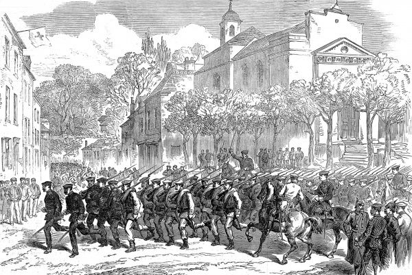 Illustration showing Prussian troops at Ville D'Avray hastening to resist a sortie by French forces. Paris was besieged for four months, until January 28th 1871