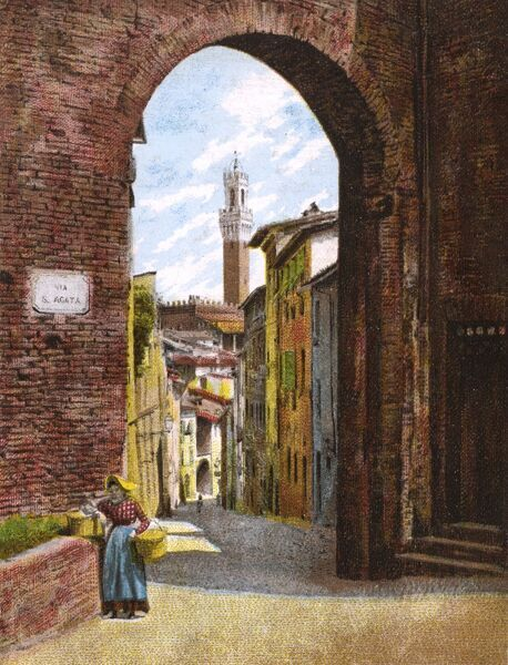 Siena, Italy - Arch (Arco) at the side of the Church of San Giuseppe with a view toward the Torre del Mangia (Tower of the Eater). Date: circa 1903